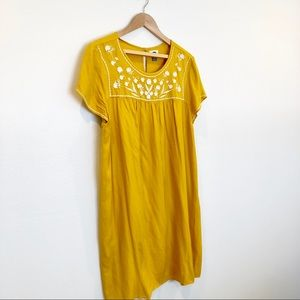 Yellow Marigold Embroidered Bohemian Boho Dress XL